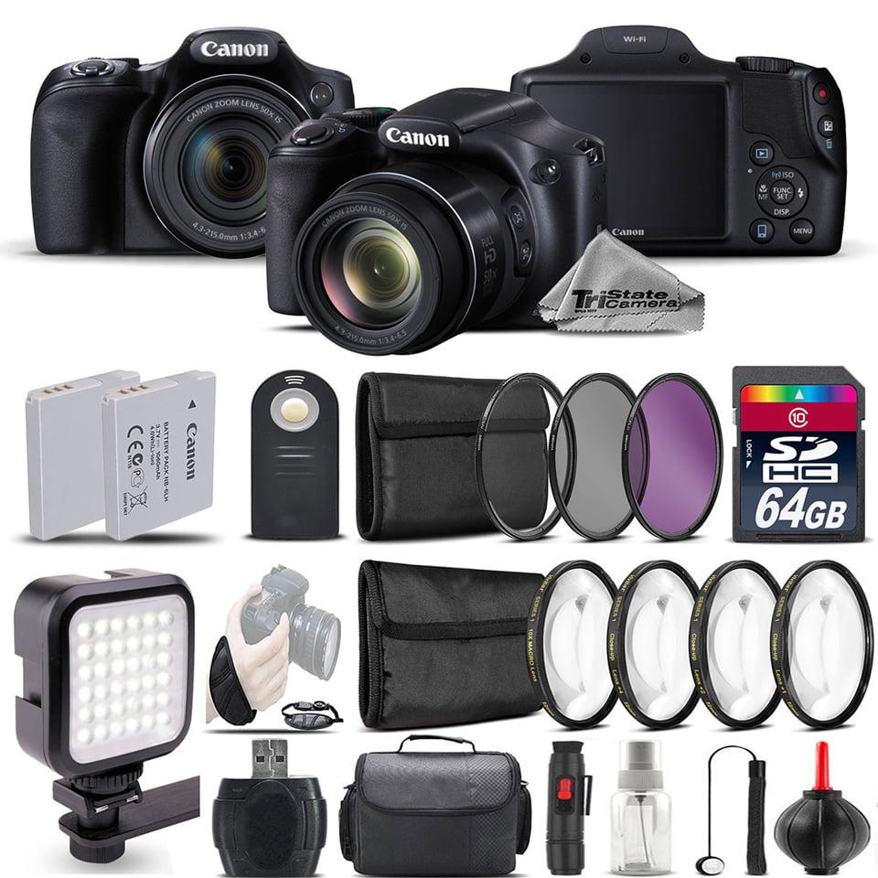 Canon PowerShot SX530 HS Digital Camera+ LED + 7PC Filter + EXT BAT - 64GB Kit