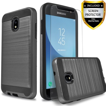 - Galaxy J7 Aero/ J7 Top/ J7 Refine/ J7 Crown Case, 2-Piece Style Hybrid Shockproof Hard Case Cover with [ Premium Screen Protector] And Circlemalls Stylus Pen [Black]