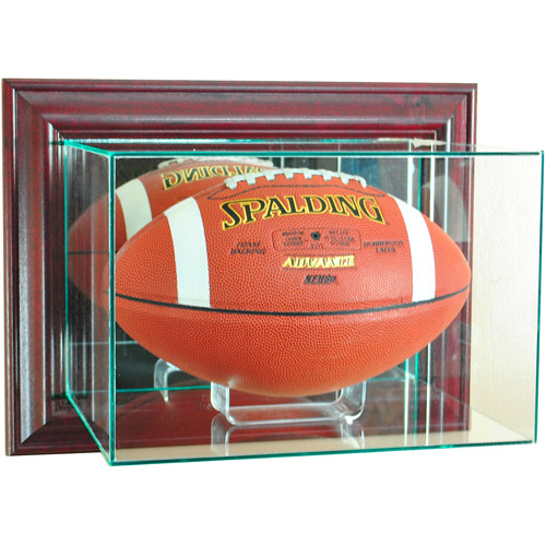 Perfect Cases Wall-Mounted Football Display Case, Cherry Finish