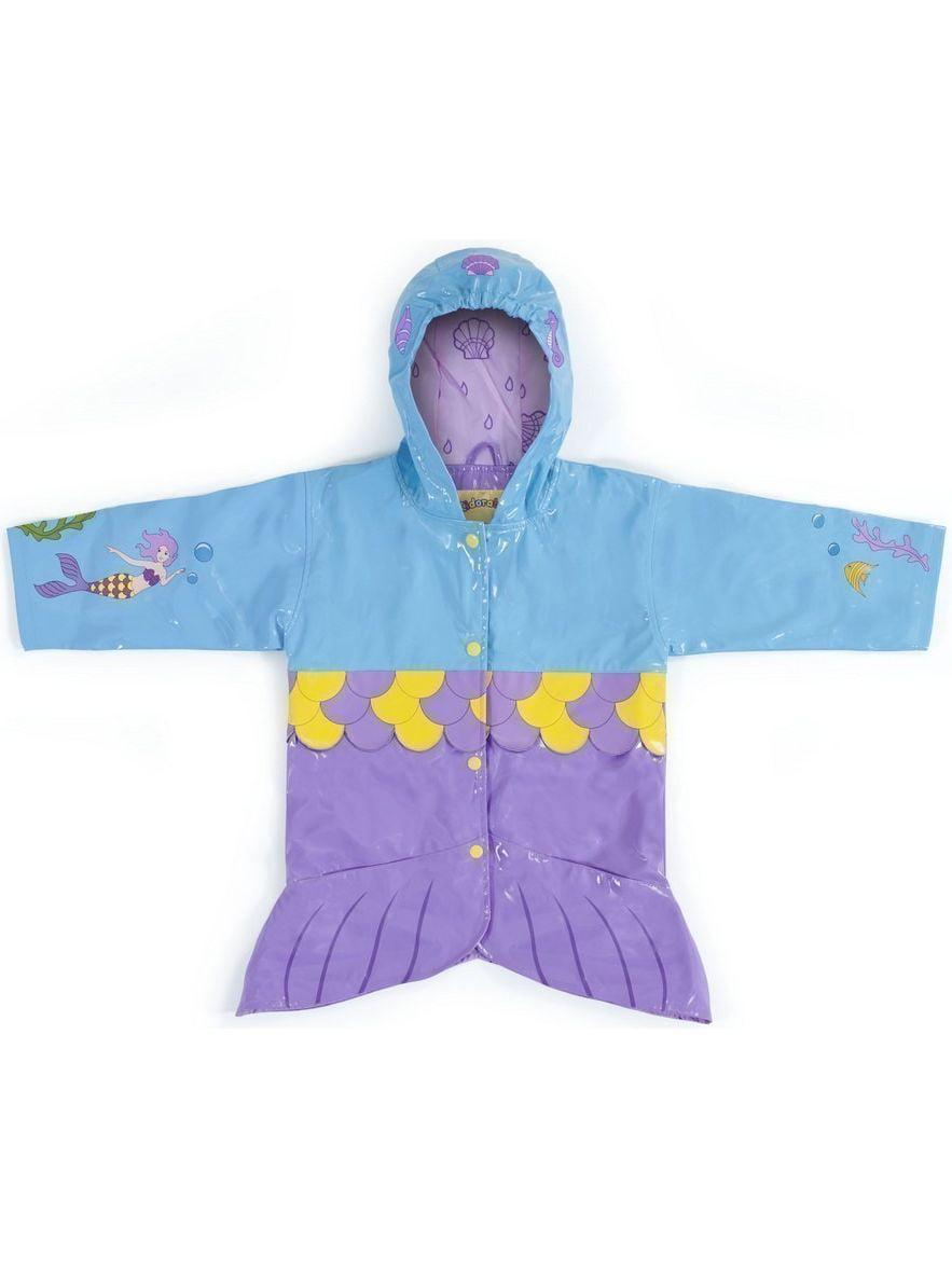 Kidorable Little Girls Aqua Mermaid Pockets Scales Hooded Rain Coat 2T-6X