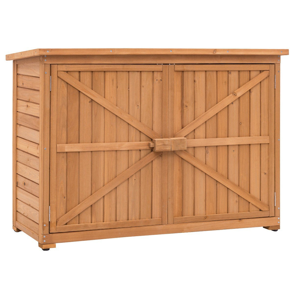 """Ktaxon 38"""" Double Doors Fir Wooden Garden Yard Shed Lockers Outdoor Storage Cabinet"""