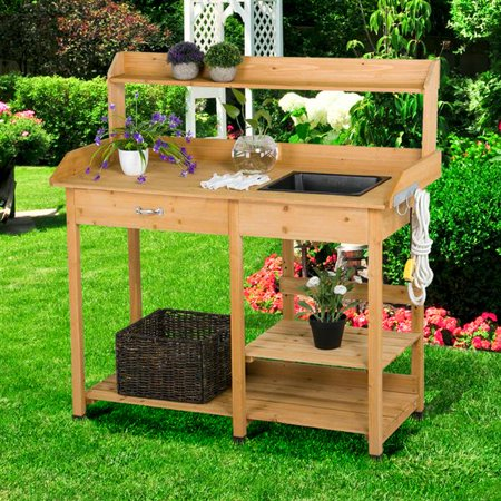 Admirable Yaheetech Outdoor Garden Potting Bench Potting Tabletop With Sink Drawer Rack Shelves Work Station Andrewgaddart Wooden Chair Designs For Living Room Andrewgaddartcom