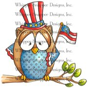 "Whipper Snapper Cling Stamp 4""X6""-Patriotic Owl"