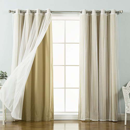 Wheat 52 x 96 In. Sheer Lace and Blackout Window Treatments, Set of Four by