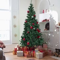 Jaxpety 7FT Green Christmas Tree Artificial Unlit Premium Spruce Hinged Tree with Stand Holiday Festival Decor Indoor & Outdoor