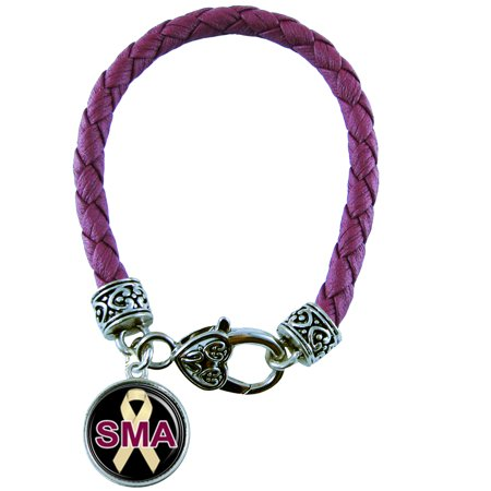 Spinal Muscular Atrophy Awareness Maroon Leather Bracelet Jewelry