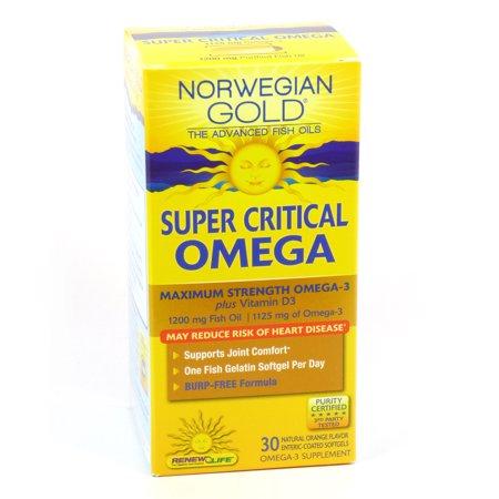 Super Critical Omega Norwegian Gold 1200Mg By Renew Life   30 Fish Gels