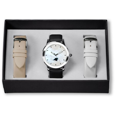 Carolina Panthers Sparo Women's Three Strap Watch Gift Set Carolina Panthers Leather