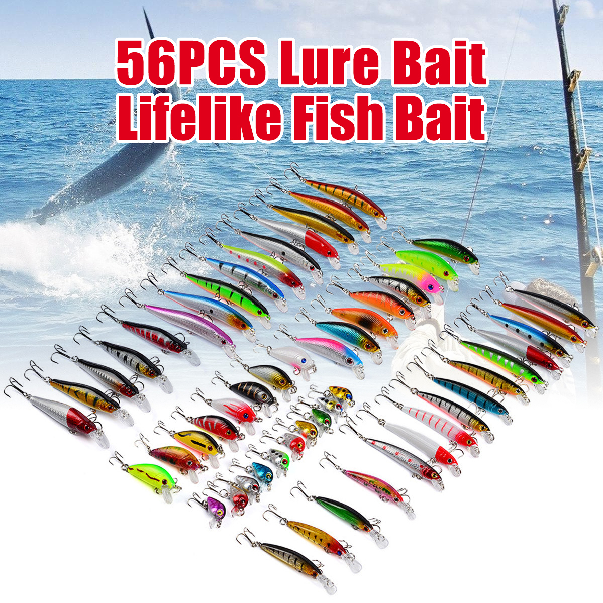 Details about  /56Pcs Mixed Color Fishing Lures Assortment Fake Bionic Baits Fish Hooks Tackle