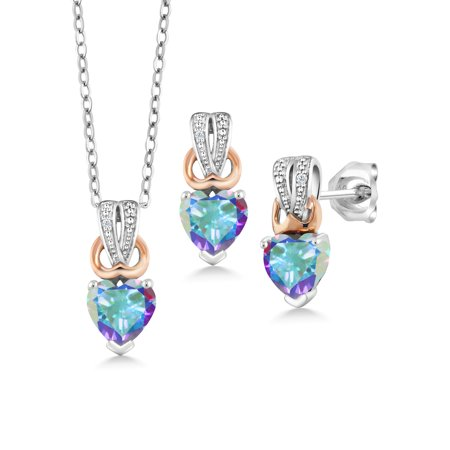 1.70 Ct Mercury Mist Mystic Topaz White Diamond 925 Silver Pendant Earrings Set