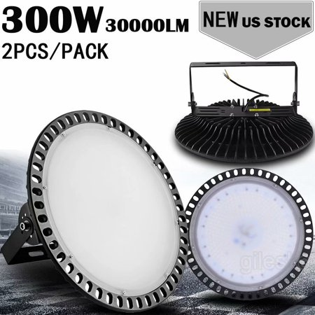 2pcs Ultraslim 300W UFO LED High Bay Light Factory Industrial Warehouse Commercial