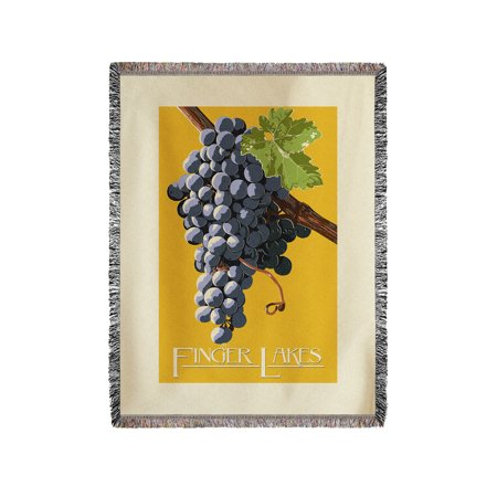 Finger Lakes  New York   Wine Grapes   Letterpress   Lantern Press Artwork  60X80 Woven Chenille Yarn Blanket