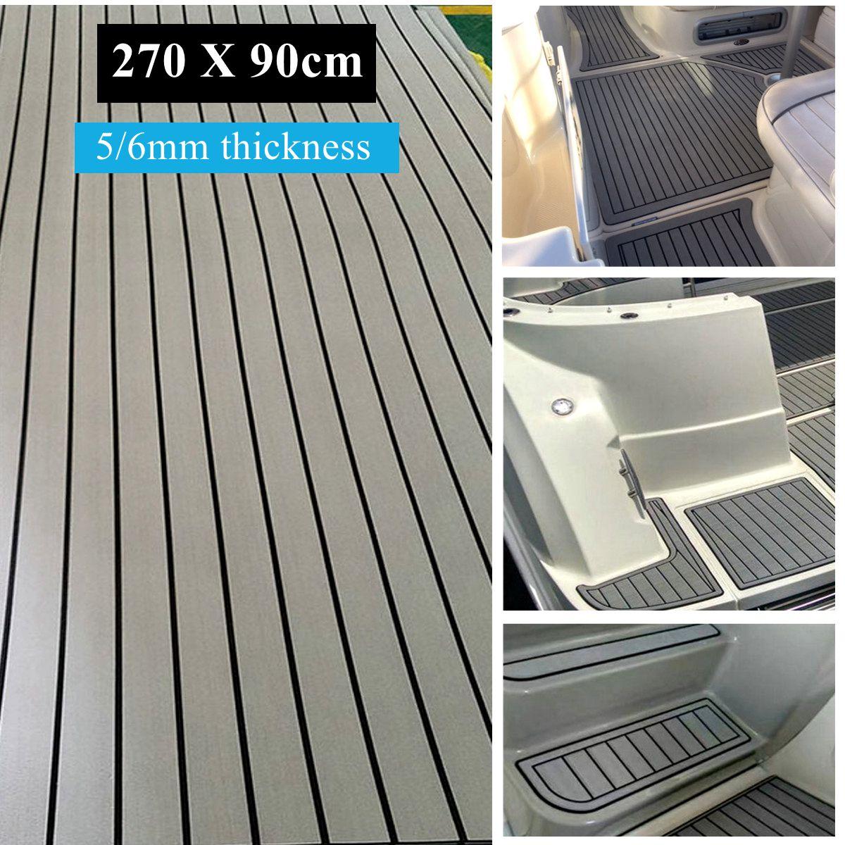 "1Pcs 35"" x 106"" 5mm Thickness Boat Teak Decking Sheet Yacht Flooring EVA Foam Floor Sheet Self-Adhesive, Grey with Black seam line"