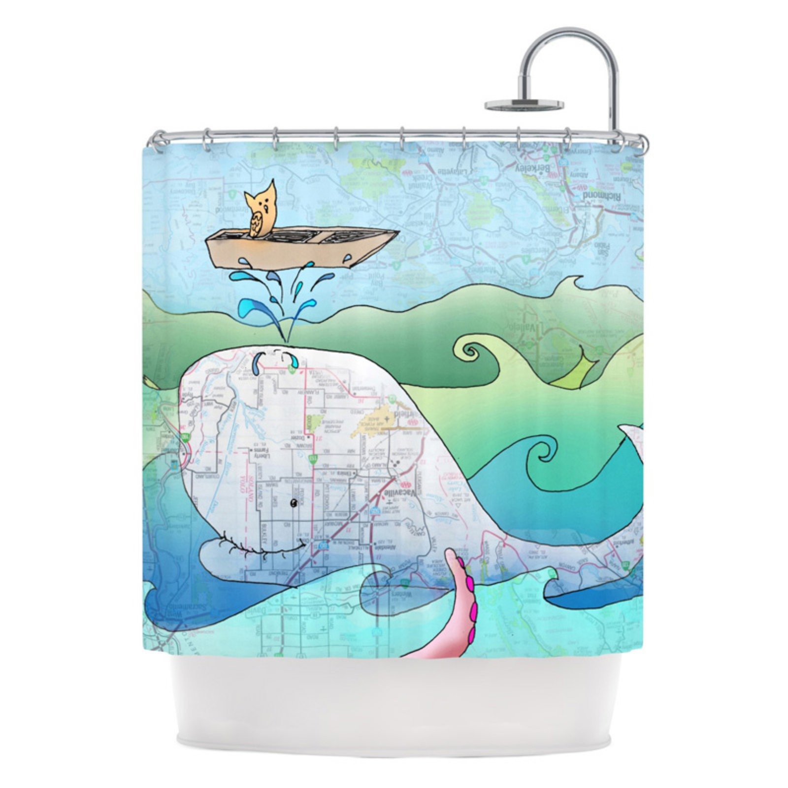 "Kess Inhouse Catherine Holcombe ""I'm on a Boat"" Kids Whale Shower Curtain"
