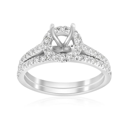 5/8ct Halo Engagement Mount Set 14K White Gold Ring Semi Mount Solitaire Setting