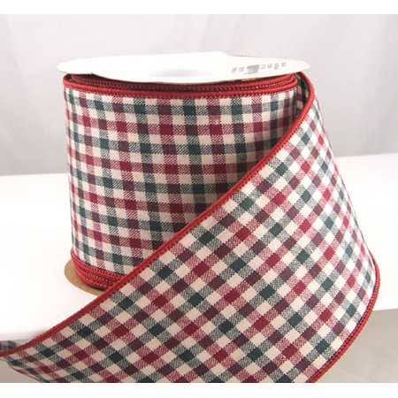 wired holiday gingham red and dark green plaid christmas ribbon 2 12 10