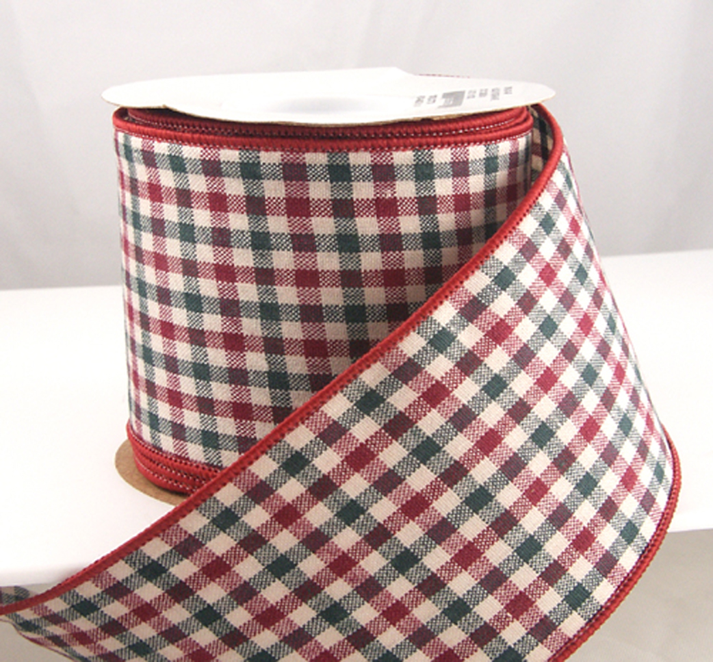 """Wired Holiday Gingham Red and Dark Green Plaid Christmas Ribbon 2 1/2"""" 10 Yards"""