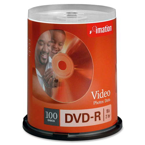 Imation DVD Recordable Media - DVD-R - 16x - 4.70 GB - 100 Pack Spindle - 120mm IMN18059