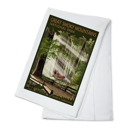 Great Smoky Mountains, North Carolina - Deer and Fawn - Lantern Press Poster (100% Cotton Kitchen Towel)
