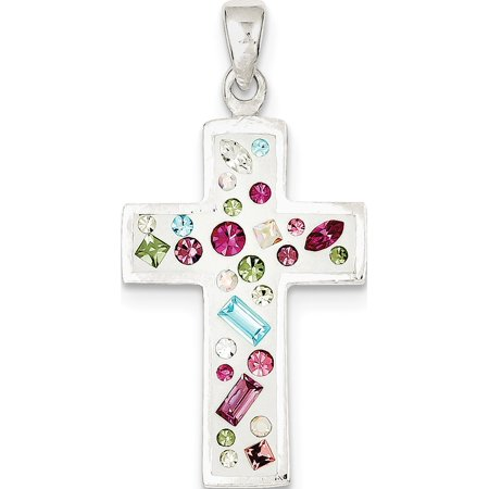 Leslies Fine Jewelry Designer 925 Sterling Silver Multi-Color Stellux Crystal White Cross (22x37mm) Pendant