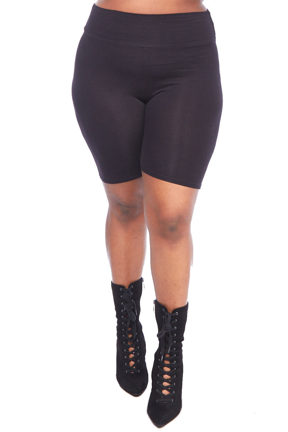 Womens Plus Waistband Elastic Solid Knee Length Short Leggings XP52105-XL-Black