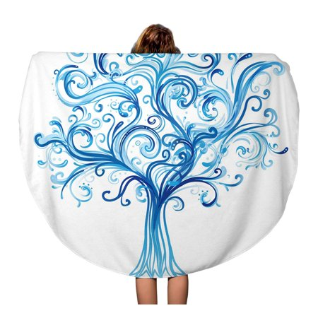LADDKA 60 inch Round Beach Towel Blanket Family Blue Winter Tree Swirls Life Silhouette Snow Branch Travel Circle Circular Towels Mat Tapestry Beach