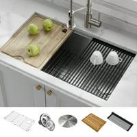 KRAUS Kore Workstation 32-inch Undermount 16 Gauge Single Bowl Stainless Steel Kitchen Sink with Accessories (Pack of 5)