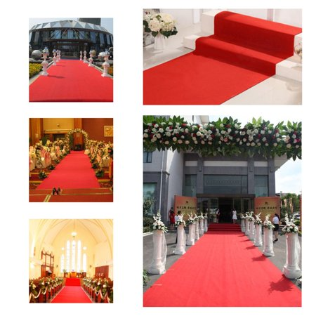 Red Runway Carpet (Meigar 9.8ftx2.6ft Red Carpet Wedding Accessories Aisle Runner Essential Hollywood and Christmas Party Decoration,Runway Rug,Suitable for Indoor or Outdoor Party)