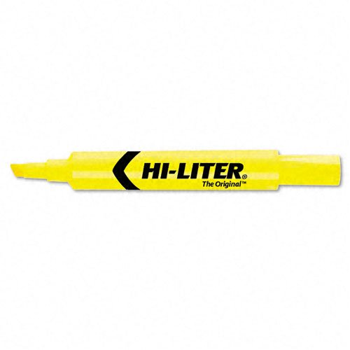 Avery Hi-liter Desk Style Highlighter Chisel Marker Point Style Yellow Ink 1 Dozen (07742) by Avery Dennison
