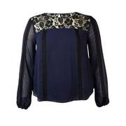 Rachel Roy Women's Lace Inset Chiffon Blouse
