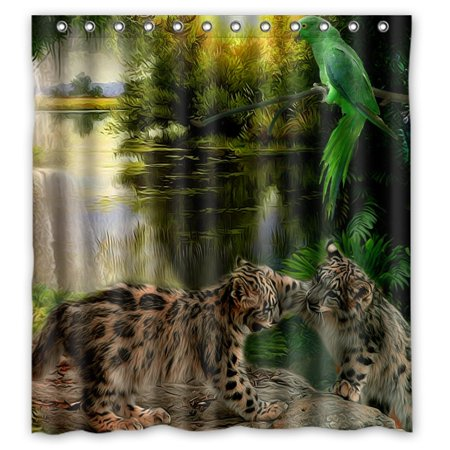 GreenDecor Leopard About Waterproof Shower Curtain Set with Hooks Bathroom Accessories Size 66x72 inches ()