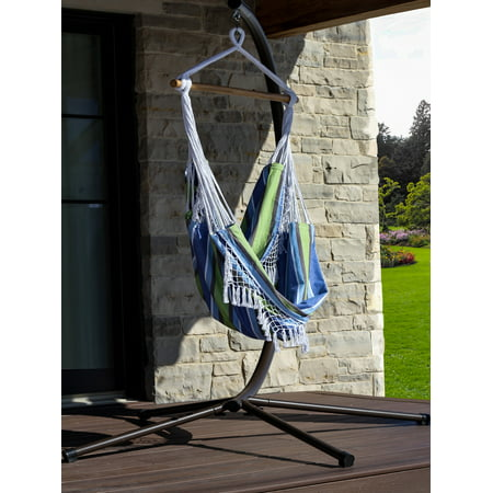 """72"""" Blue and Green Brazilian Style Hammock Chair with a Hanging Bar"""