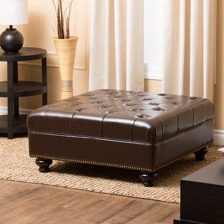 (Abbyson Living Oreana Leather Ottoman Coffee Table in Dark Brown)