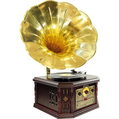 Pyle Vintage Phonograph Horn Turntable with CD, Cassette, AM/FM, Auxiliary Playback and USB Recording