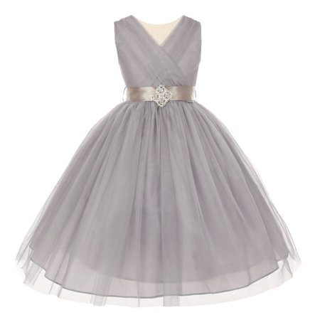 Big Girls Silver Pleated Rhinestone Brooch Tulle Junior Bridesmaid Dress 12 - Girls Silver Dresses