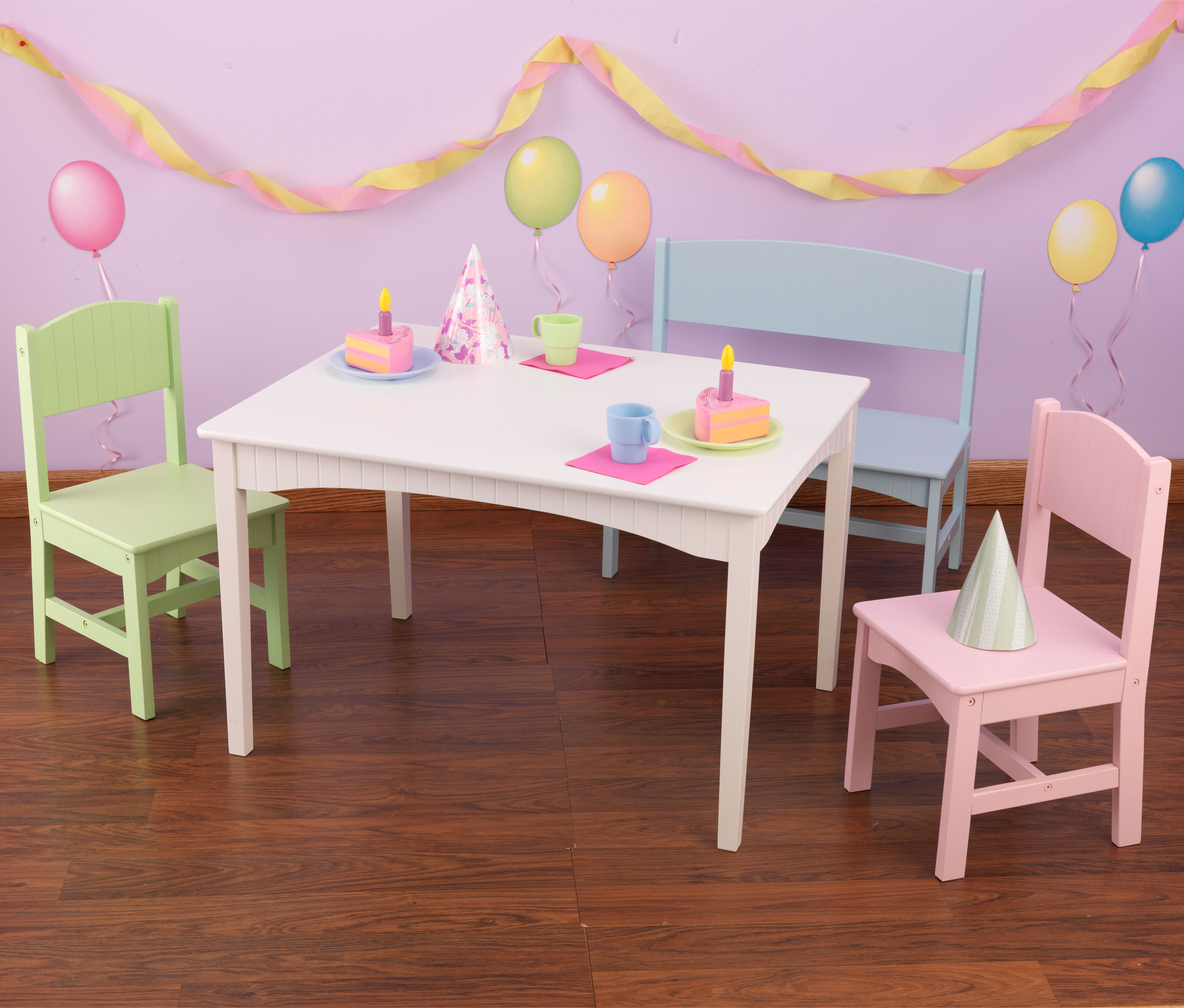 Kidkraft Nantucket Kids Table With Bench And 2 Chairs Set Pastel 26112 Walmart Com
