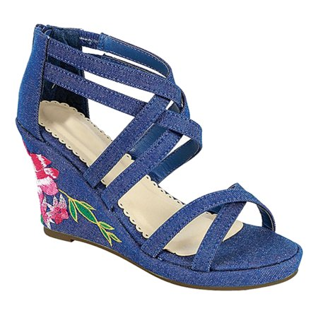 SNJ - Women s Open Toe Embroidered Floral Strappy Ankle High Wedge Heel  Sandal (FREE SHIPPING) - Walmart.com 25b6e429d896