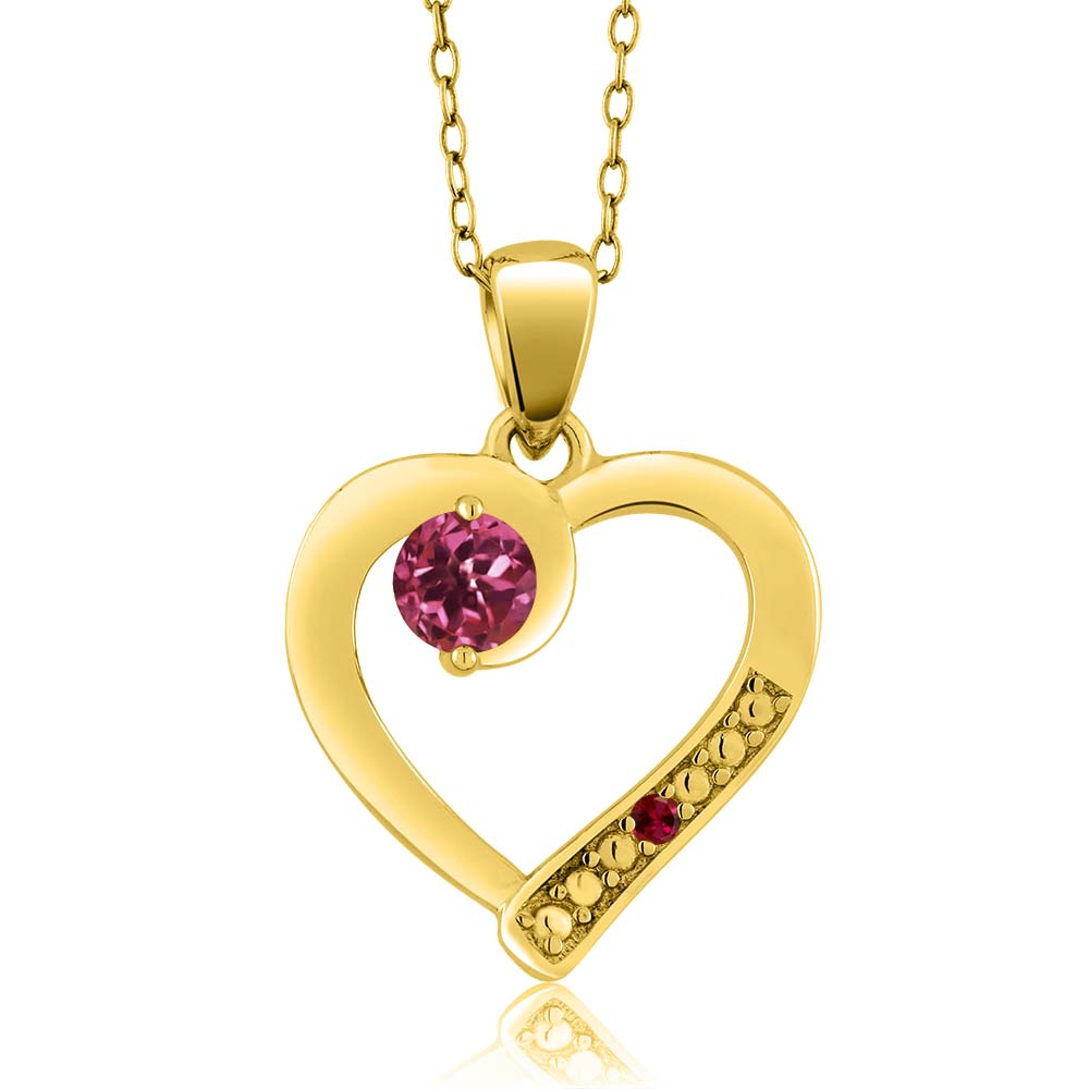 0.26 Ct Round Pink Tourmaline Red Created Ruby 18K Yellow Gold Pendant by