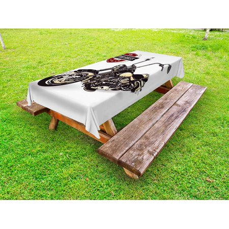 Motorcycle Outdoor Tablecloth, Chopper Customized Motorcycle with Club Insignia