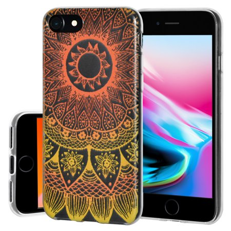 iPhone 8 Case Screen Protector Charger Cable Combo, Premium Designer Graphic Clear TPU Case Ultra 9H HD Tempered Glass Apple Mfi Certified Lightning Cable for Apple iPhone 8 - Mandala (Graphic Designer Glasses)