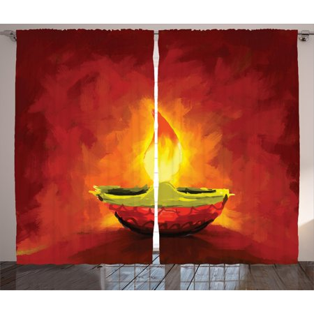 Diwali Decor Curtains 2 Panels Set  Oil Painting Image Candle For Diwali Religious Festive Celebration Indian Day Print  Window Drapes For Living Room Bedroom  108W X 90L Inches  Red  By Ambesonne