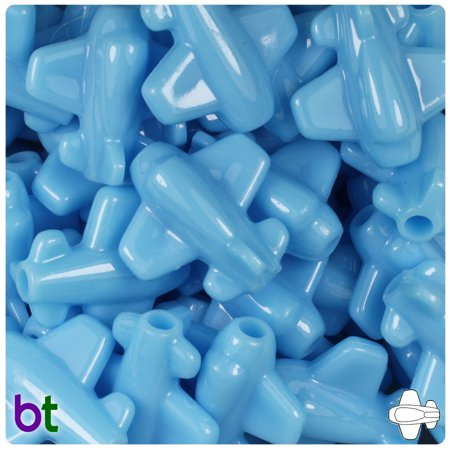 25mm Round Beads (BeadTin Baby Blue Opaque 25mm Airplane Pony Beads (24pcs) )