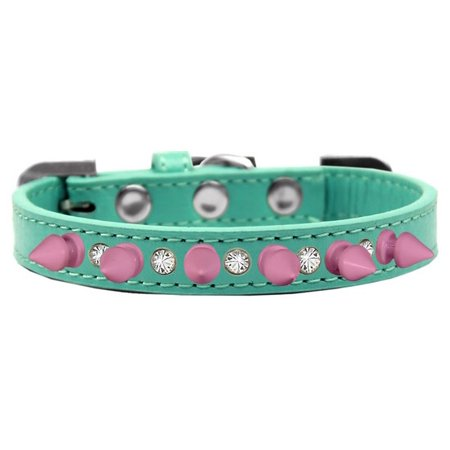 Mirage 625-LPK AQ16 Crystal and Light Pink Spikes Dog Collar Aqua - Size