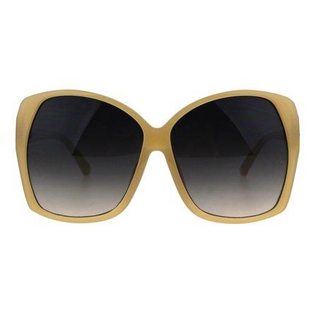 Large Sunglasses (Womens Diva Oversize Large Butterfly Designer Sunglasses Beige)