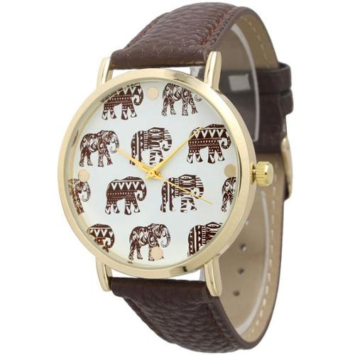 Olivia Pratt Women's Leather Strap Tribal Patterned Elephant Dial Watches Royal
