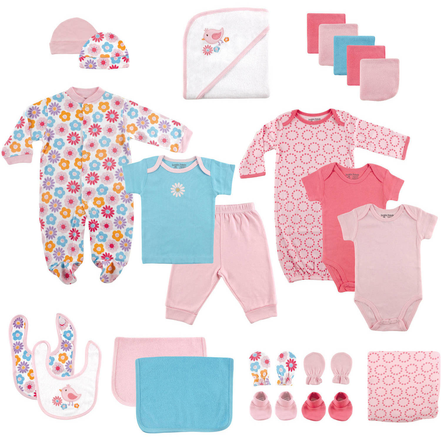 Newborn Baby Girl Deluxe Coordinated Gift Set, 24pc