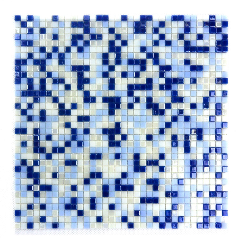 "Abolos- Galaxy Straight 0.31"" x 0.31"" Glass Mosaic Tile in Blue/White (10sqft / 10pc Box)"