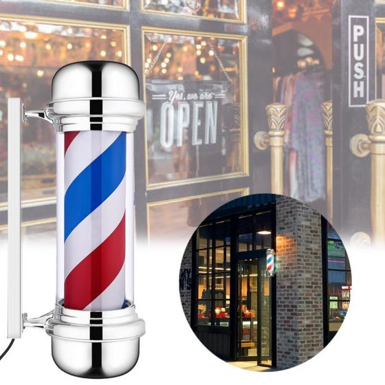 "Zimtown 28"" Barber Shop Rotating Pole Light LED Red Blue White Stripes Hair Salon Sign"