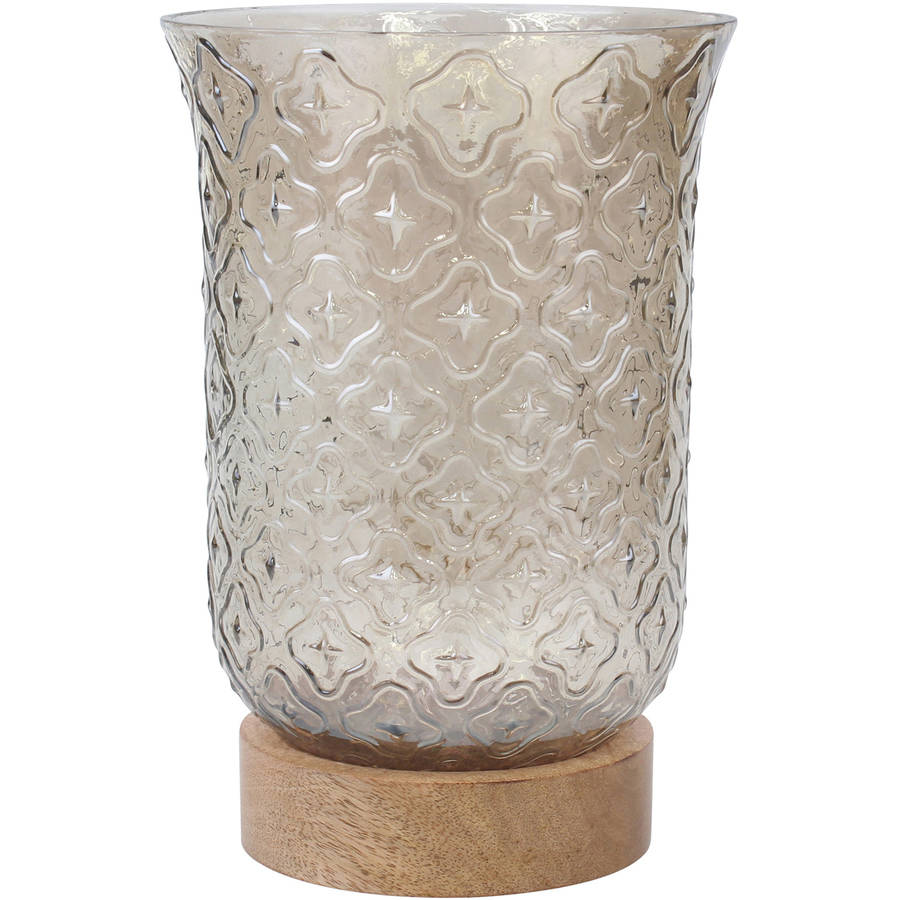 Stonebriar Collection Clear Glass Brown Luster with Wood Base Hurricane Pillar Candle Holder