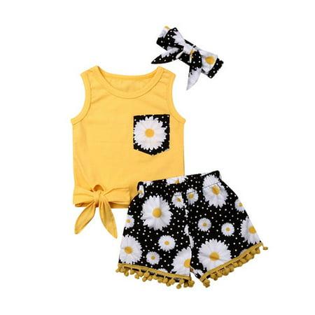 Pudcoco Kids Girls Sleeveless Pocket Floral Tops Sunflower Printed Tassel Shorts
